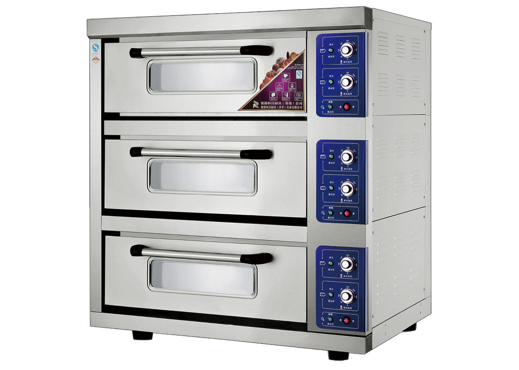Energy -  Saving 3 Trays Stainless Steel Electric Baking Ovens Laminated - Type , Temperature Range 20 ~ 300°C